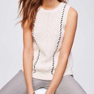 LOFT Sleeveless Cable Knit Cream Sweater NWT